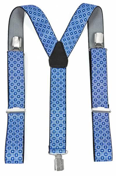 Herren Damen Hosenträger blau Motiv 4Ecke Flexibel Länge einstellbar 3cm Breite