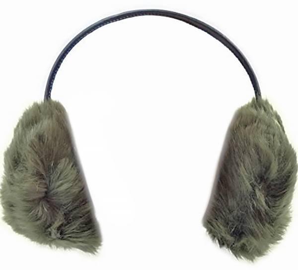 Ohr-Wärmer Herren Damen Earmuffs und Lautsprecher / Kopfhörer oliv Kuschelig weich mit Fell (full fluffer oliv)