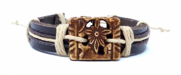 Armband Herren Damen Leder-Armbänder Handmade - Flower-Quad