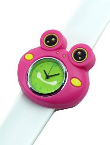 Kinderuhr Damenuhr mit Slaparmband aus Silikon viele Modelle (Cermit Pink- weiss)