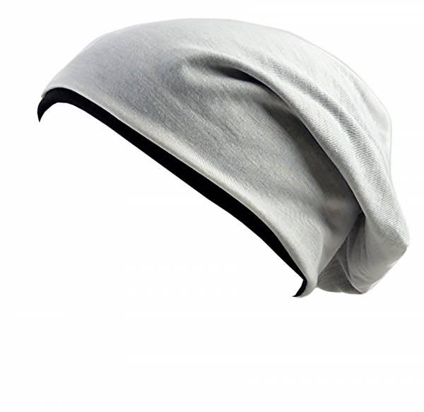 Stoff-Mütze long-Beanie Cap 2 Farben Wende Mützen weiss schwarz