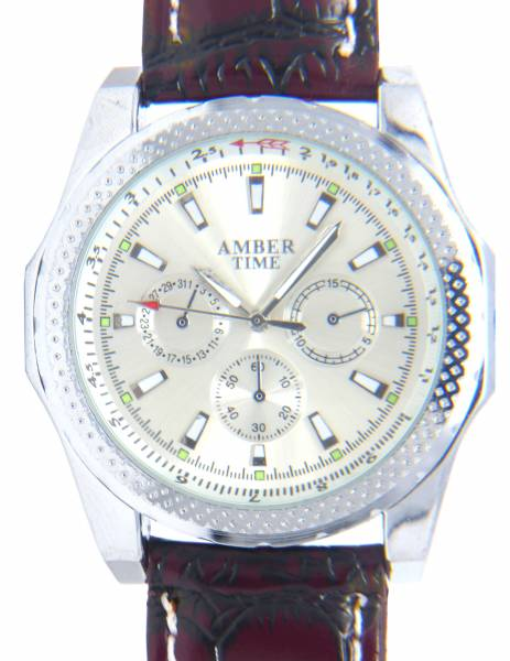 Herren Business Armband-Uhr silber braun Lederarmband