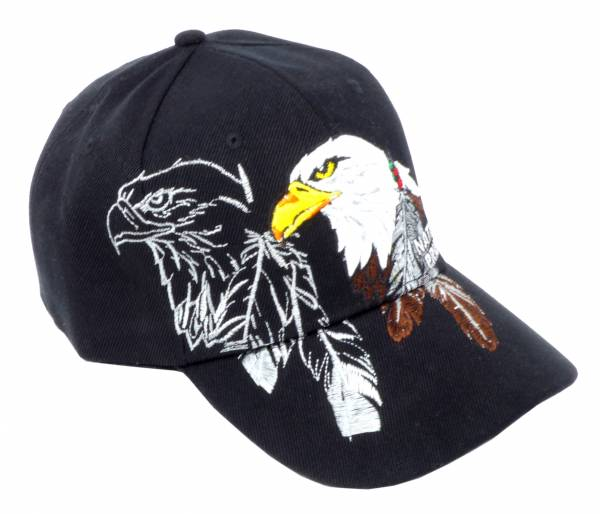 Base-cap Schirm-Mütze Schwarz Motiv Adler