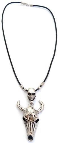 Ketten 3310 Halskette Gothic Necklace Punk Rock Devil Skull Chain mit Totenkopf Teufels-Kopf