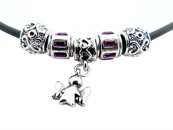 hochwertige Beadkette im edlen Design mit Engelchenanhänger in SCHÖNER GESCHENKVERPACKUNG