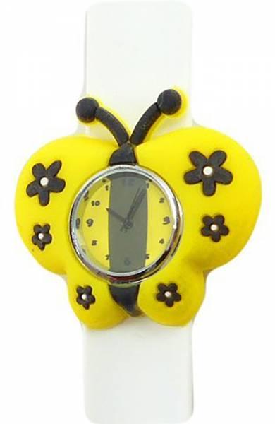 Damen-Uhren weiss Comic-Waches süße Kinderuhr mit Slap-Armband aus Silikon viele Modelle (schmetterling weiss)