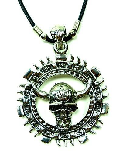 Kette Echtleder Halskette 1547 mit Wicking Skull Mark Anhänger Edelstahl UX-11