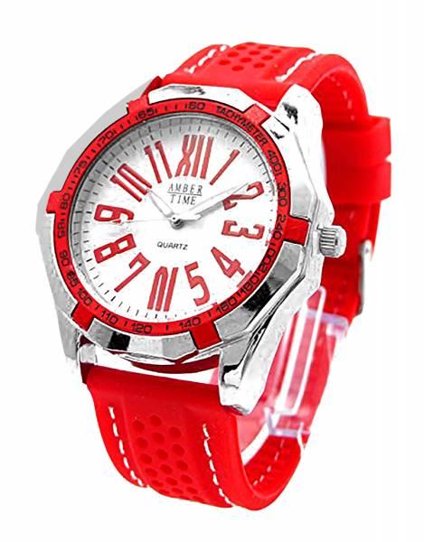 XL Armband-Uhr Herren Damen-Uhren rot Rallaye RED Designer Armbanduhr DG Trendit Red & White One
