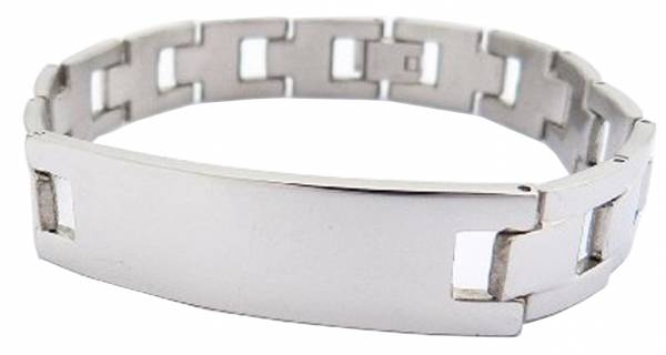 Armband silber Herren Damen Metall-Armbaender mit Gravur-Fläche hochwertig poliertes Edelstahl Armband  18cm 2426