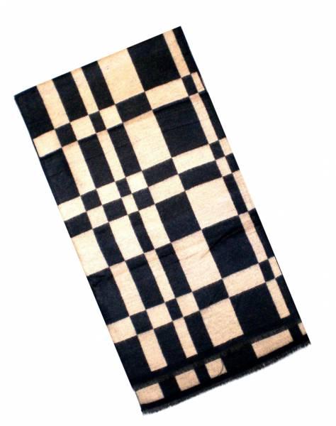 XL Schal Herren Schals extra lang Damen Schal kariert gemustert Herbst Winter Luxus Scarfs Deluxe Schals super weich soft (schwarz.beige) 4771