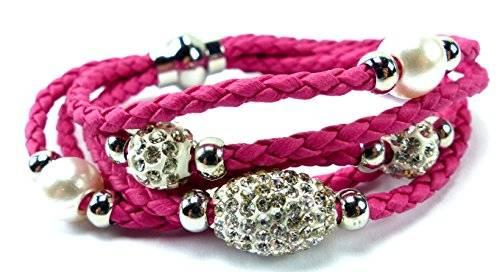 Armband 3499 edle Damen Armbaender in tollen Farben mit Strasskugeln und Perlen viele Modelle U10-5 (pink)