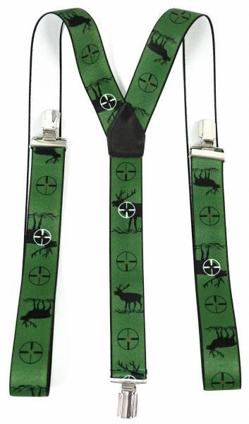 Herren Damen Hosenträger Grün Schütze Hirsch Jäger Kostüm Zubehör Fasching