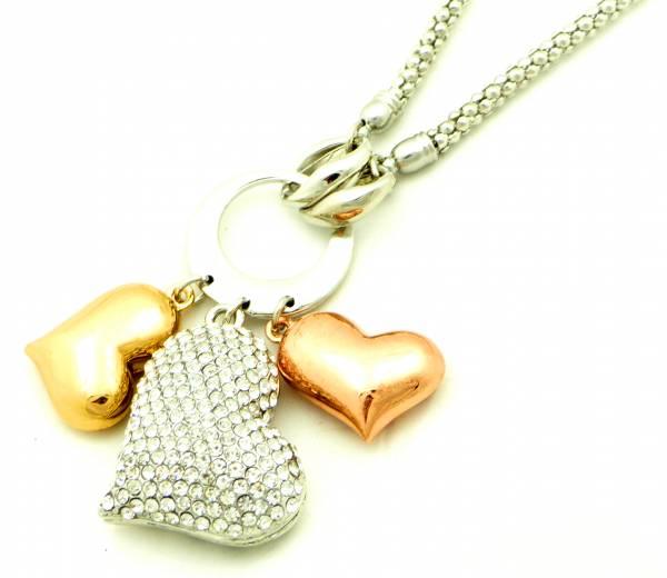 Herz-Kette Halskette 4386 Damen Schmuck Heart Strass Herz gold