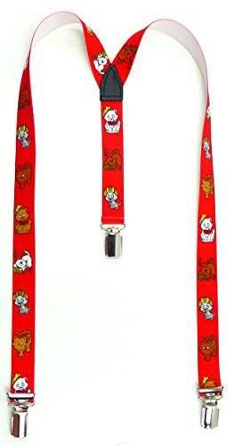 Hosentraeger 3231 Kinder Hosentraeger Child suspenders Cat braces mit süssen Kätzchen Motiv viele Modelle süssen Kätzchen Motiv (red)
