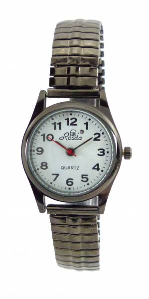 Uhren kleine Damen-Uhr schwarz große Ziffern Armbanduhr für Sie und Ihn mit Flex Stahlarmband S-BLACK