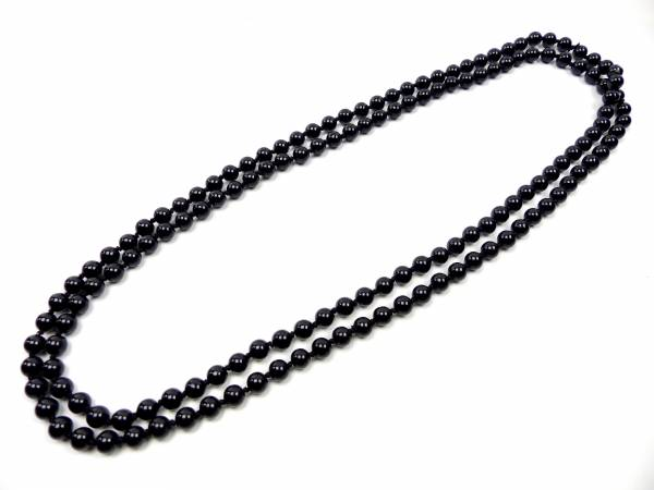 Perlen Ketten Extra Lange Perlenkette 4362 Kunst-perlen Kette - Beste Qualität (SCHWARZ)