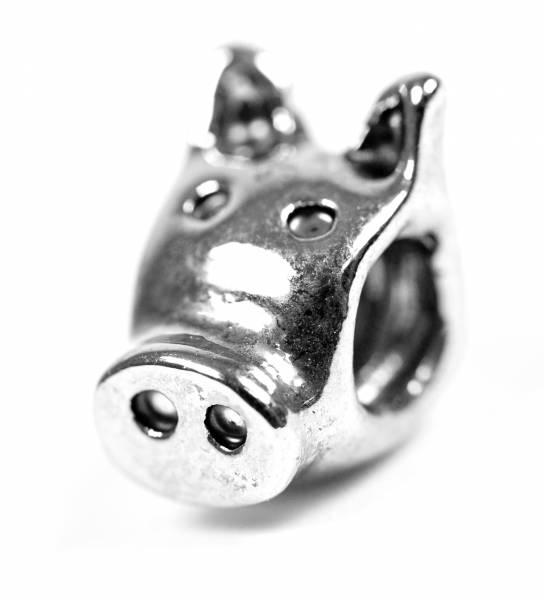 Beads Charms Schmuck Glasperlen Anhänger Unisex Zwischen-Element Schwein Kopf Glücksbringer Motiv