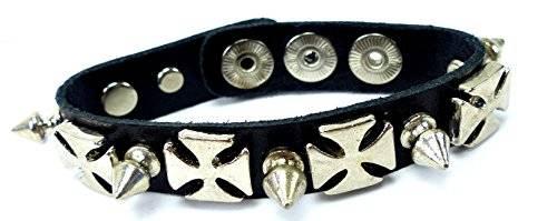 Nieten-Armband schwarz  Armbaender Killer-Nieten Kreuz