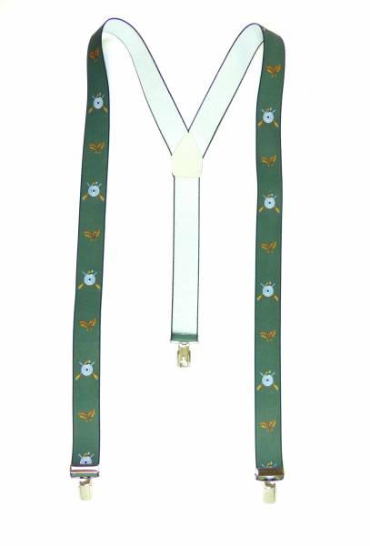 Hosenträger grün Schützen-Motiv mit Eichenlaub Sport-Shooter Suspenders Design, mit 3 Clips, 3,5 cm
