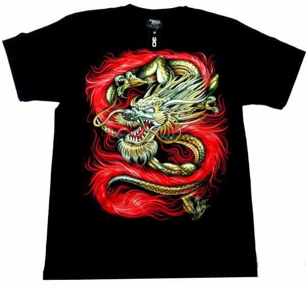 T-Shirts schwarz 3D Herren Damen ROTER DRACHE Party Shirt schwarz Karneval Fasching 3D Hemd Glow in the Dark Halloween RED DRAGON Shirt leuchtet im dunkeln Größe: L 5232