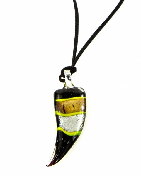 Damen-Halskette Glas-Anhänger Zahn-schwarz