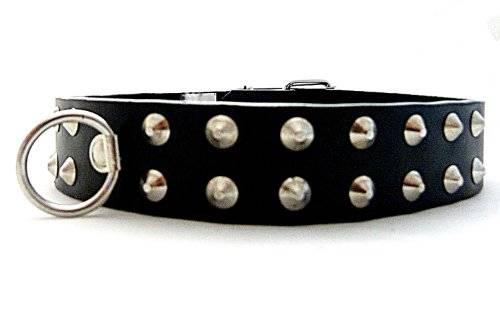 Echt Leder Halsband Nietenbesetzt mit Leinenring U3