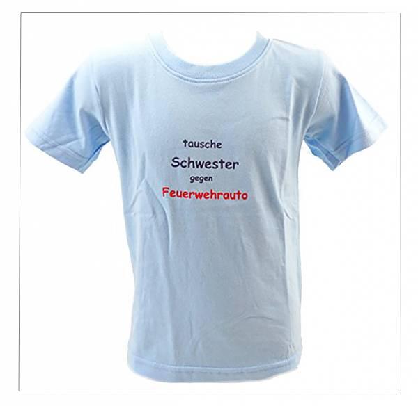 kinder t-shirt 3-4 Jahre TAUSCHE SCHWESTER GEGEN FEUERWEHRAUTO (hellblau)