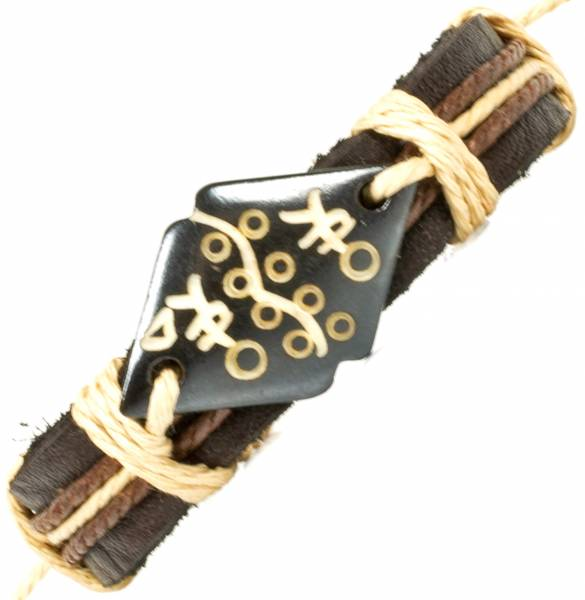 Herren Leder Armreifen Schmuck Armband Vintage Einstellbar Surf Armkettchen Motiv Swahili