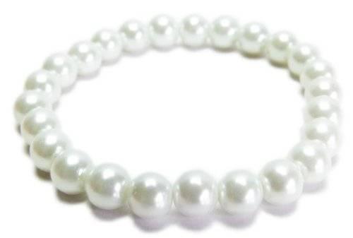 Armband 2998 Perlen Armband Glanz Perlen auf Stretch Armband - viele Farben (weiss)