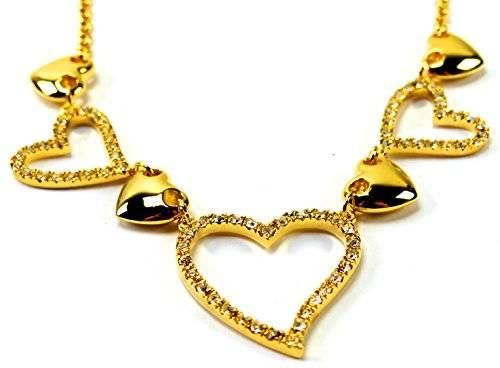 Halskette 3587 Swarovski Steine Gold Collier Damen Ketten Herz-Kette GOLD mit Swarovski Elements