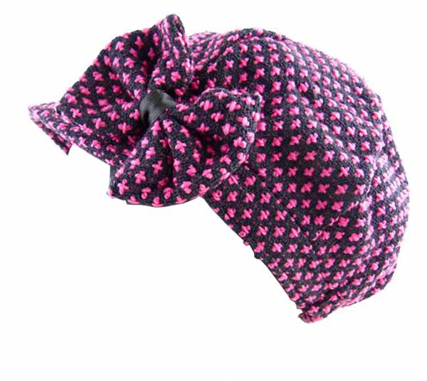 Mütze Damen Winter Mütze pink mit Schleife Viele Modelle 3319 (pink)