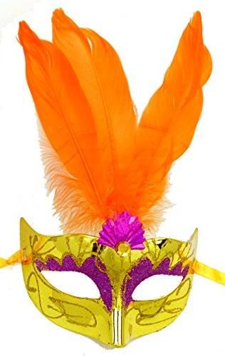 Masken Herren Damen Feder Maske gelb elegant mit Federn orange venezianische Karneval-Gesichts-Maske Fasching Feder Mask (#3G-O) 2045