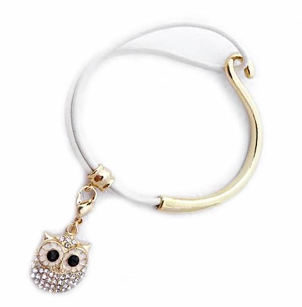 Armband 3168 Edelstahl Armband mit Strass Eule Anhaenger