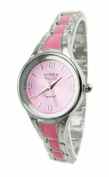 Damen-Uhr rosa Metall-Armband Designer-Uhren edle Armbanduhr in Silber Absolutes Designer Stück ROSA