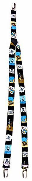 Hosentraeger 2263 Kinder Hosenträger Piraten Design 3 Clips Child suspenders Pirat braces  Schwarz oder rot (black)