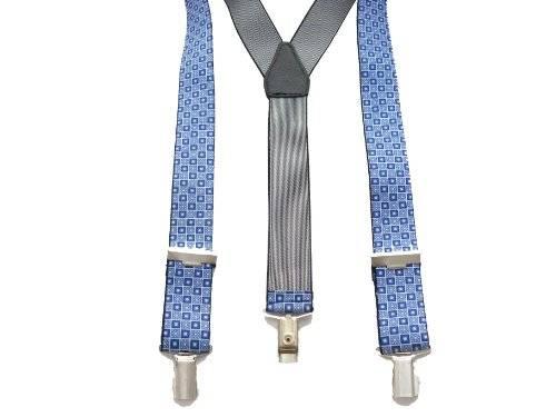Designer Hosenträger starke Clips verschiedene Modelle (Blau-Eck)