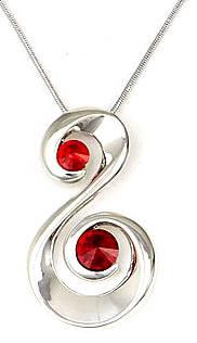 Halskette Silber Swarovski-Stein rot Schwan-Schmuck Damen Collier HalsKette mit Anhänger S-Form Swarovski Kristallen besetzt Glam-red 5017