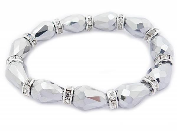 edles permuttfarbenes Damenarmband mit Glitzereffekt und Strass in der Trendfarbe Silbergrau 20cm Stretch