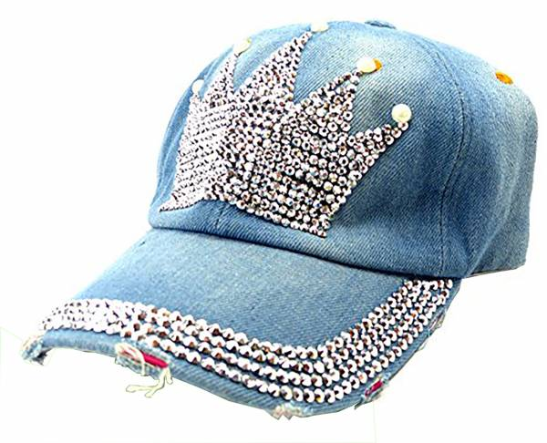 Jeans Caps Pailletten Cap Nieten Schirm Mütze mit Silber Nieten Jeans Cappy (Crone)