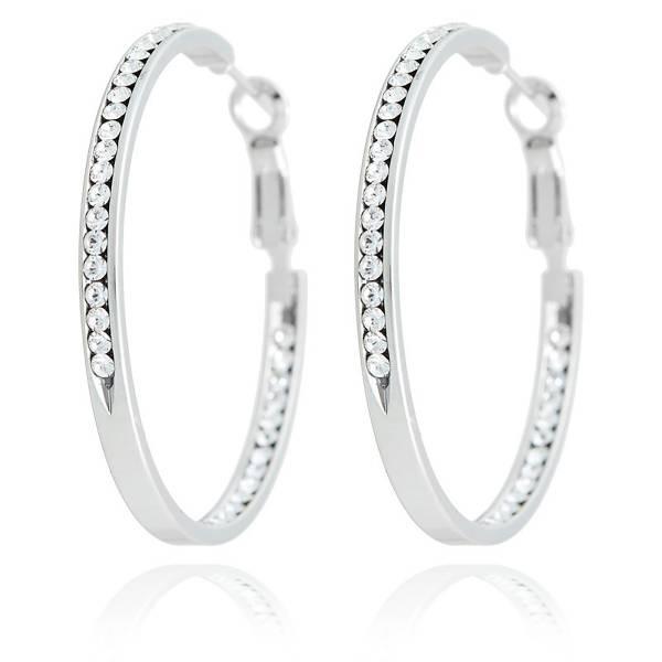 Tillberg Damen-Ohrringe Silber mit Swarovski-Steinen Creolen der Oberklasse! Tillberg-Designer Earrings-silver Swarovski-Cristal