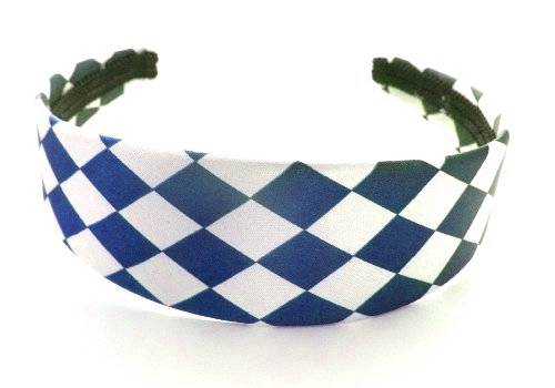 Haar-Reifen Haar-Klammer Haarreif im schicken Karo Design viele Farben (d.blau) 2070