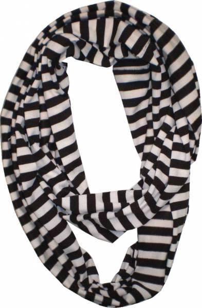 Schals Herren Damen Loop Schal schwarz XL Schlauch Rund Schals gestreift Rundschal (Streifen schwarz) 4838