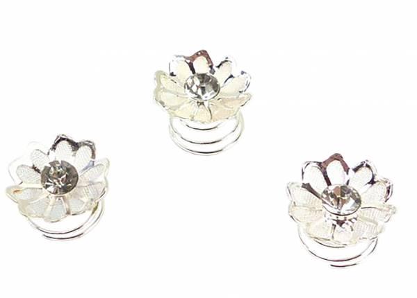 Haarspiralen mit Stass besetzt 10mm christall white Flower O82-X (3 Stk)