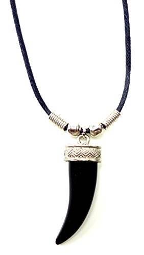 Echtleder Halskette mit Tiger Tooth Black Anhänger UX-2