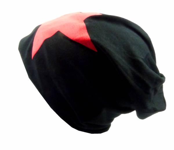 Beanie-Cap schwarz mit Stern-Motiv rot Herren Damen Mütze long Beanie Caps Stoffmütze Beanie Black Star-Theme red Urban Beanie Killer Chill Wear Summer Schwarz 5320