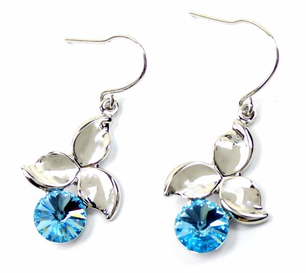Swarovski Stein Ohrringe 4597 Swarovski Silber Haenger Ohrring Set der Oberklasse! Hanging Earring Swarovski Stones (TÜRKIS-CHERRY)
