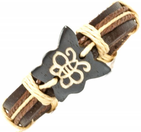 Herren Leder Armreifen Schmuck Armband Vintage Einstellbar Surf Armkettchen Motiv Schmetterling