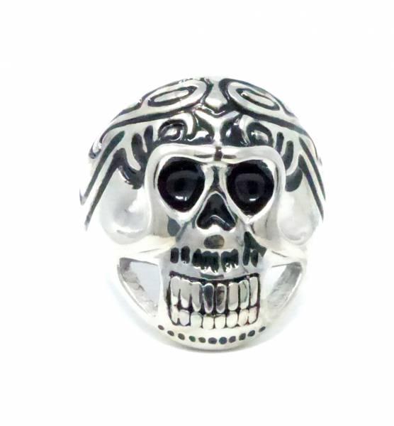 Halloween-Ring XL Statement-Ringe Totenkopf silber GR.20