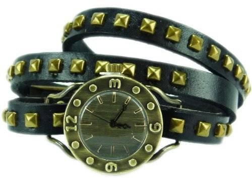 Wickel-Armbanduhr echt Leder mit Nieten schwarz 4TIME 60-6