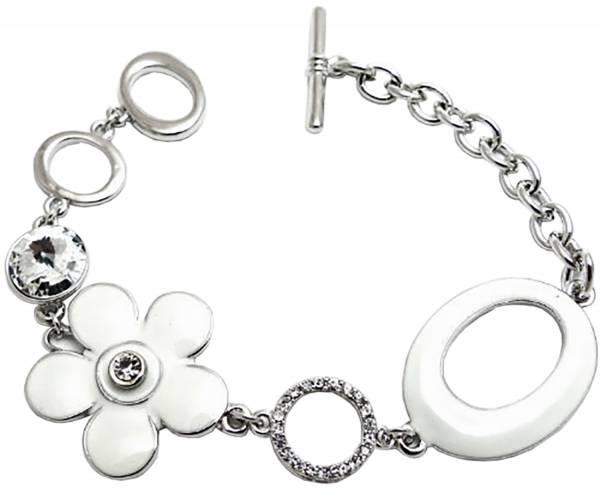 Designer Damenarmband Silber Blume Strass hochwertige Verarbeitung O42
